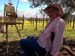 Dana Hawley Painting Mustard and Vines